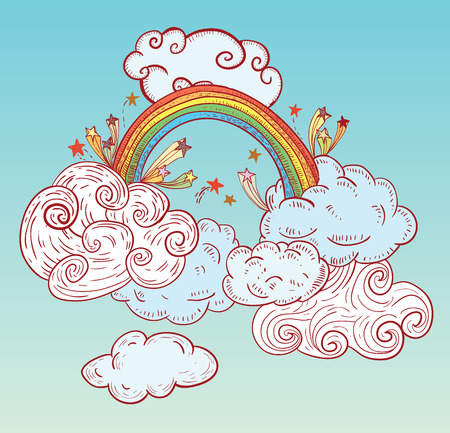 rainbow: Doodle Clouds and rainbow, Hand Drawn