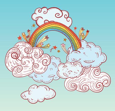 arc en ciel: Nuages ??de griffonnage et arc en ciel, dessinée à la main Illustration