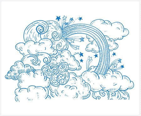 heaven: Doodle Clouds and rainbow, Hand Drawn Vector