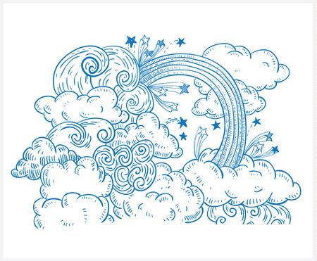 cielo: Nubes Doodle y arco iris, vector dibujado a mano