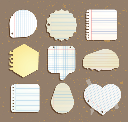 paper notes: set of paper notes speech bubbles. Vector illustration.