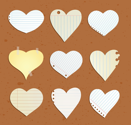 paper note: heart paper note, vector illustration.