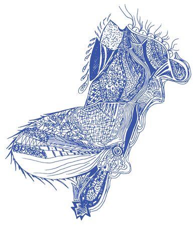 fabric art: Hand Drawn Textures, vector illustration.