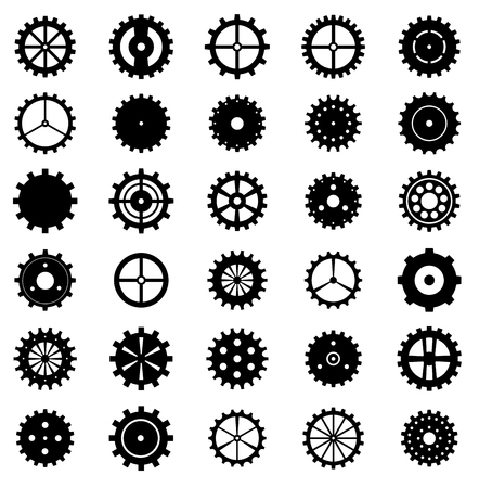 clock gears: Set of gear wheels, vector illustration. Illustration