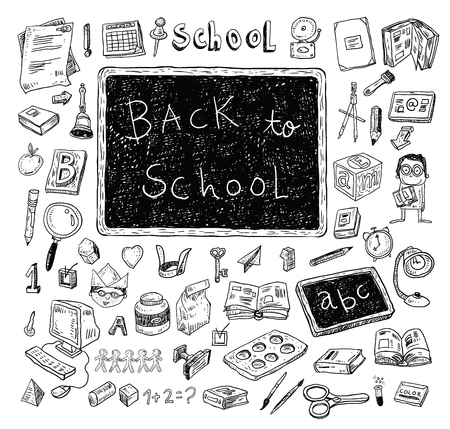Back to School doodles elements, set of labels and icons. Vector illustration. 일러스트