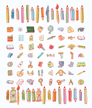 Back to School doodles elementi, set di etichette e icone. Illustrazione vettoriale. Archivio Fotografico - 44435395