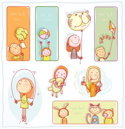 pen and paper: Kid party Banners and Bookmarks, vector illustration.