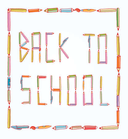 teaching crayons: pencil Font Back to school, vector illustration.