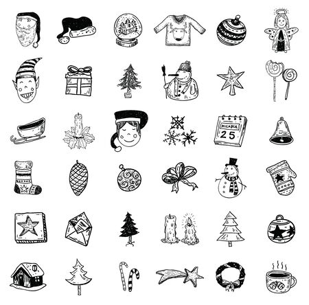 snowman vector: Christmas hand drawn icons set. vector illustration.