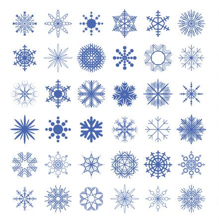 copo de nieve: Colecci�n del copo de nieve. ilustraci�n vectorial.
