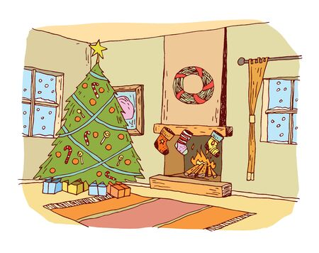 christmas room: Christmas traditional decorated room, Christmas tree and fireplace. vector illustration.