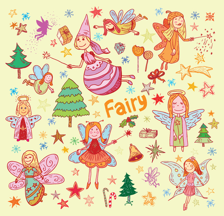 doodle of fairies and angels. vector illustration. Illustration
