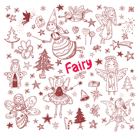 cheerfully: doodle of fairies and angels. vector illustration. Illustration