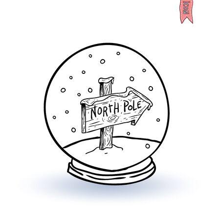 glass dome: glass dome winter scene. vector illustration.