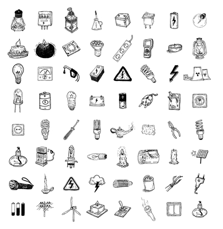 Light Doodle icon collection, vector illustration.