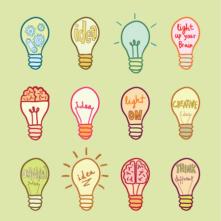 contemplate: Set bulb  idea icon, vector illustration Illustration