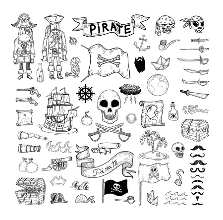 pirate skull: doodle pirate elememts, vector illustration. Illustration