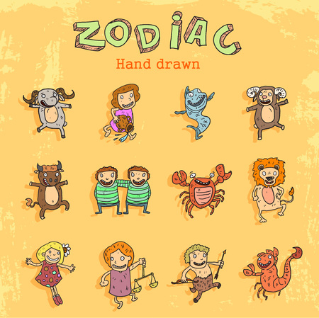childhood cancer: cartoon children as zodiac signs. Illustration