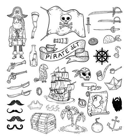 pirate treasure: doodle pirate elememts, vector illustration. Illustration