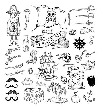 calavera pirata: elememts piratas del doodle, ilustración vectorial.