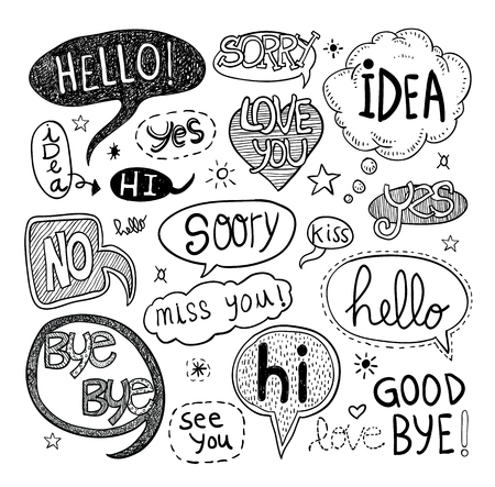 doodles: speech bubbles, vector illustration.