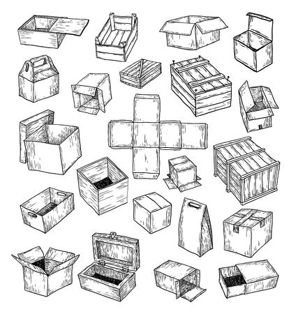 cardboard: boxes collection, doodles set. vector illustration. Illustration