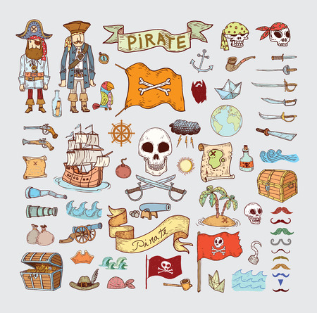 doodle pirate elememts, vector illustration. Stok Fotoğraf - 44723939