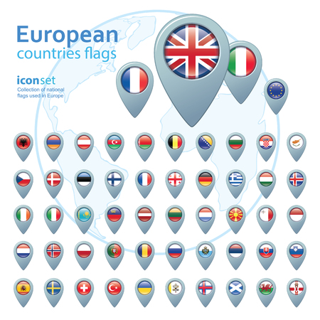 flags vector: set of european flags, vector illustration