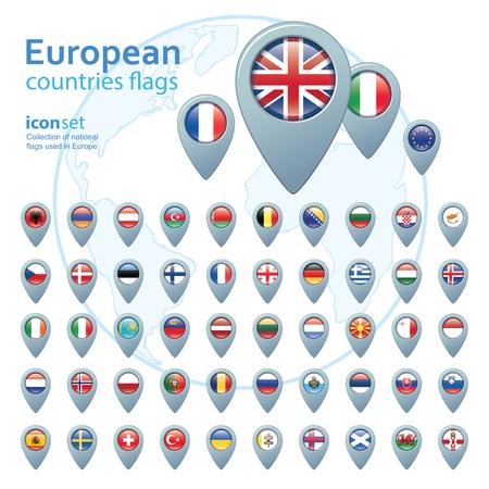 european flags: set of european flags, vector illustration
