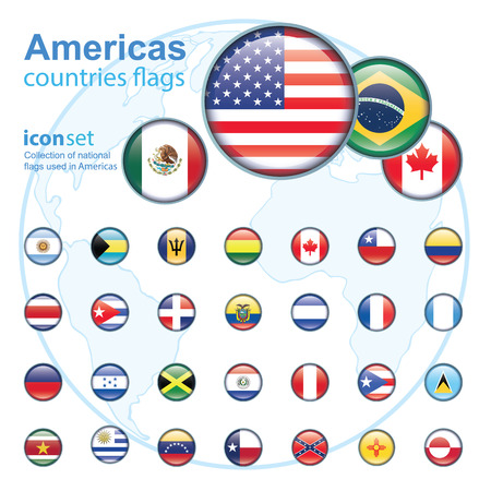 republic of peru: set of Americas flags, vector illustration Illustration