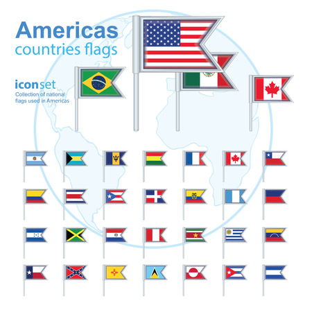republic of colombia: set of Americas flags, vector illustration Illustration