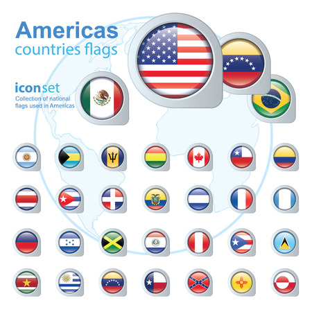 the americas: set of Americas flags, vector illustration Illustration