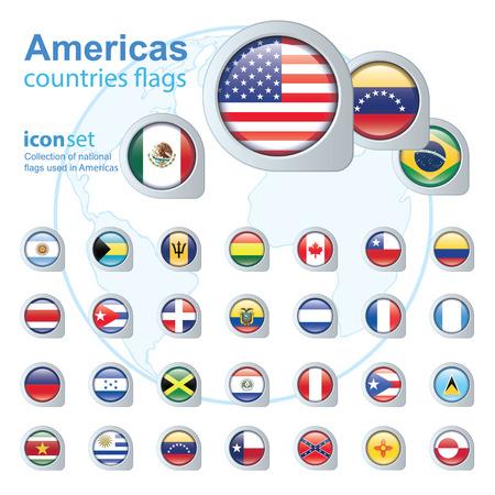 republic of ecuador: set of Americas flags, vector illustration Illustration