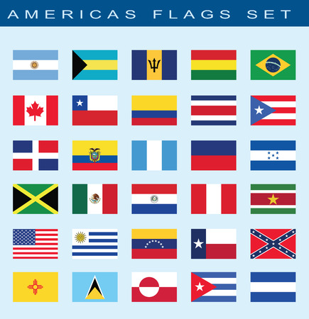 americas: set of Americas flags, vector illustration Illustration