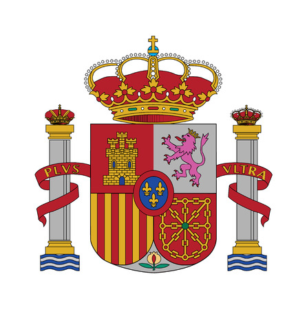 Coat of arms, Flag of Spain, vector illustration Çizim