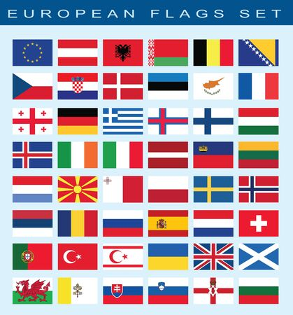 european flags: set of european flags, vector illustration