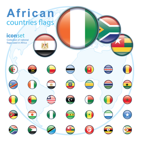 northern african: Set of African flags, vector illustration.