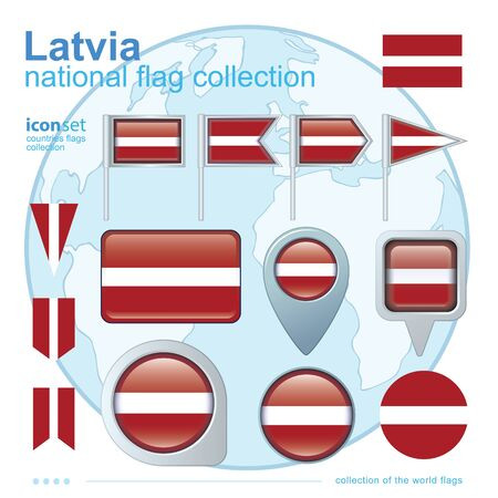 latvia: Flag of Latvia, icon collection, vector illustration