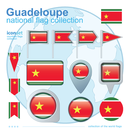 guadeloupe: Flag of Guadeloupe, icon collection, vector illustration Illustration