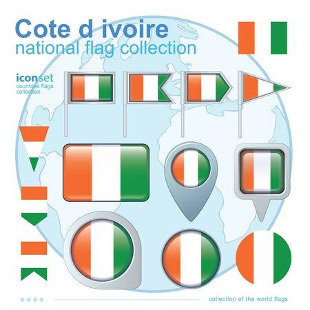 cote d ivoire: Flag of Cote d ivoire, icon collection, vector illustration Illustration