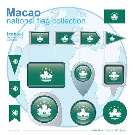 macao: Flag of Macao, icon collection, vector illustration