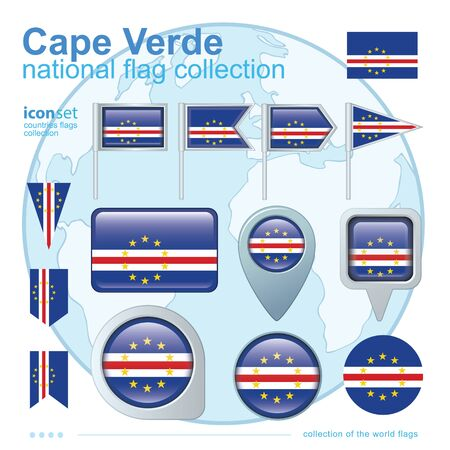 cape verde: Flag of Cape Verde, icon collection, vector illustration