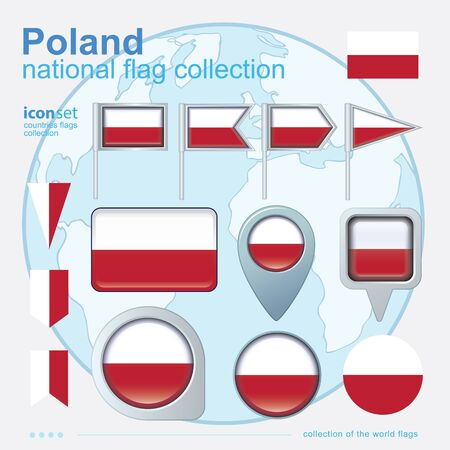 flag banner: Flag of Poland, icon collection, vector illustration