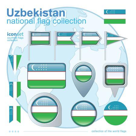 oezbekistan: Flag of Uzbekistan, icon collection, vector illustration Stock Illustratie