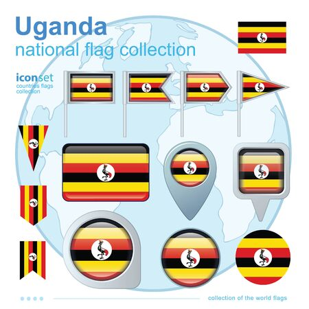 uganda: Flag of Uganda, icon collection, vector illustration