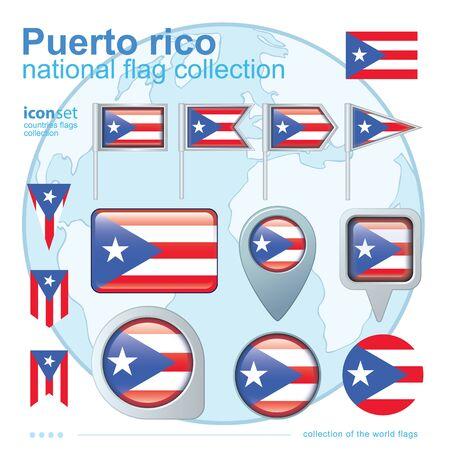 bandera de puerto rico: Bandera de Puerto Rico, colección de iconos, ilustración vectorial