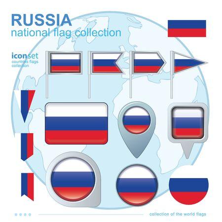 Vlag van Rusland, icoon collectie, vector illustratie