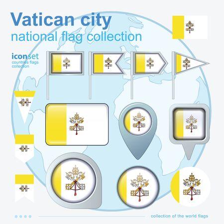 ciudad del vaticano: Flag of Vatican city, icon collection, vector illustration