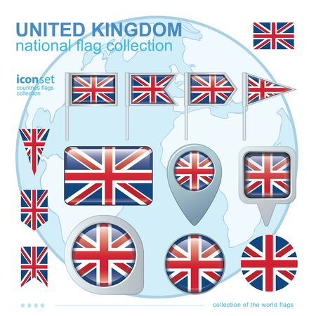 ensign: Flag of United Kingdom, icon collection, vector illustration