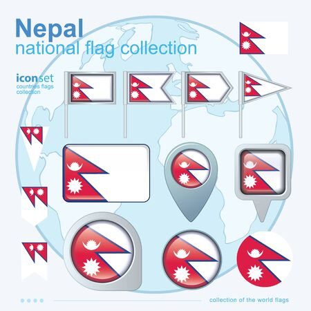 ensign: Flag of Nepal, icon collection, vector illustration Illustration